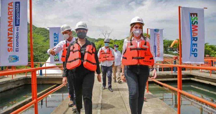 Con el inicio de la obra de ampliación de la PTAP 'El Roble', Virna Johnson garantiza más agua potable a 342 mil samarios